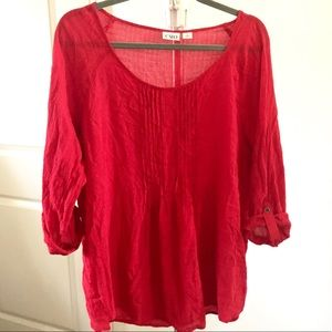 Cato Red Tunic Textured Button Up Blouse